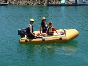 Daughter and friends in Dinghy